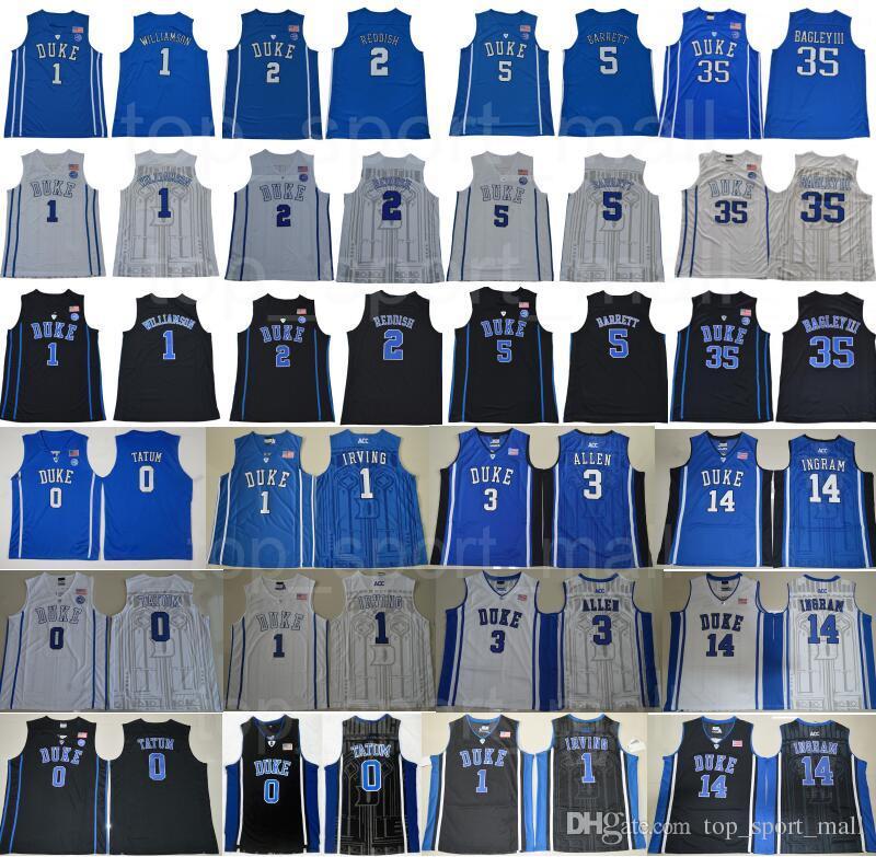 ad85a7e695e Acheter College Basketball Duke Maillot Blue Devils Kyrie Irving 1 Zion  Williamson Cam Rouge RJ RJ Barrett Marvin Bagley III Jayson Tatum Ingram  Allen De ...