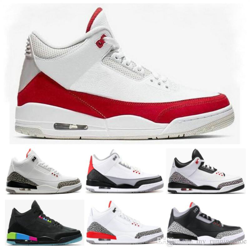 new arrival a7913 854bf 2019 Red Tinker Mocha 3s Black White Cement Pure retros White UNC  Basketball Shoes Men 3 Katrina Chlorophyll International Flight Sneakers
