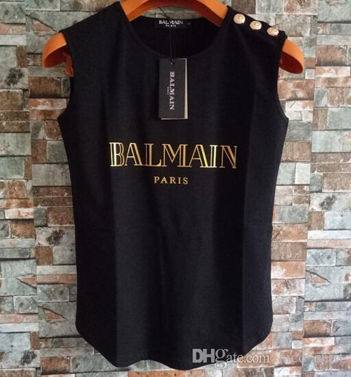7d540deb72 Compre Balmain Para Mujer Diseñador Camisetas Para Mujer De Lujo Camiseta  Diseñador De La Marca Camisetas Top De Manga Corta Ropa De Mujer S L A   12.19 Del ...