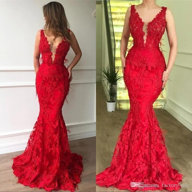 Stunning Sexy Red V-Neck Mermaid Prom Dresses Wear Illusion Lace Appliques Long Sheer Back New Formal Evening Party Gowns robes de mariée
