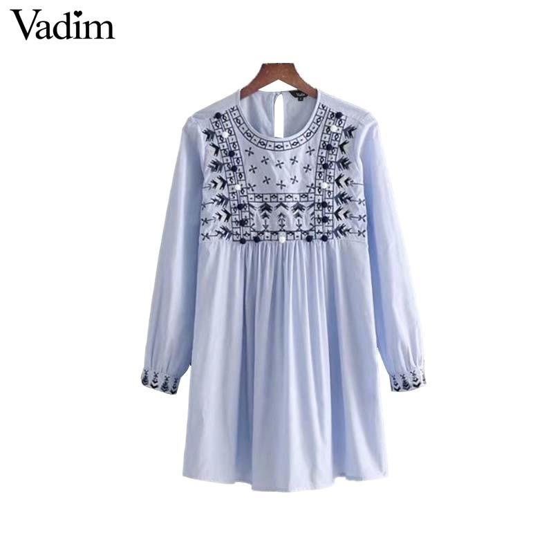 f7d98679836ce Vadim vintage floral embroidery striped dress fur ball tassel tie pleated  long sleeve o neck ladies mini dresses vestidos