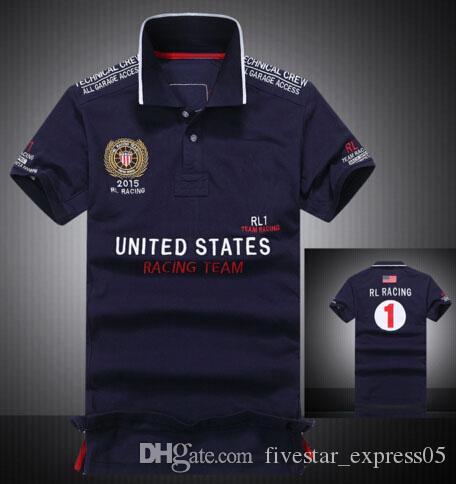 Высокое качество мужские повседневные рубашки поло Big Pony Country Flag Испания Италия Соединенные Штаты Аргентина Франция Бразилия GBR Racing Polos рубашка