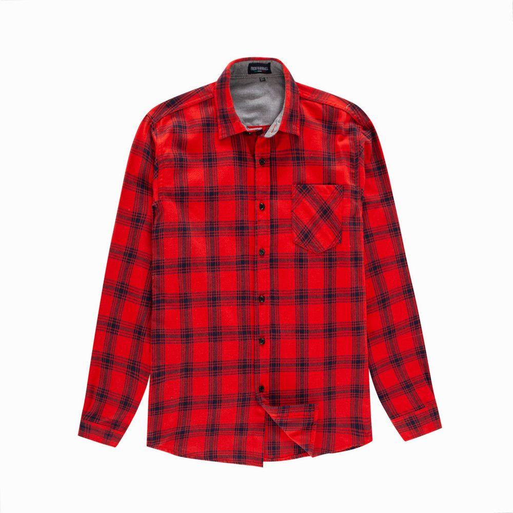 2019 Mens Plaid Dress Shirts Casual Slim Fit Men Flannel Shirt Long