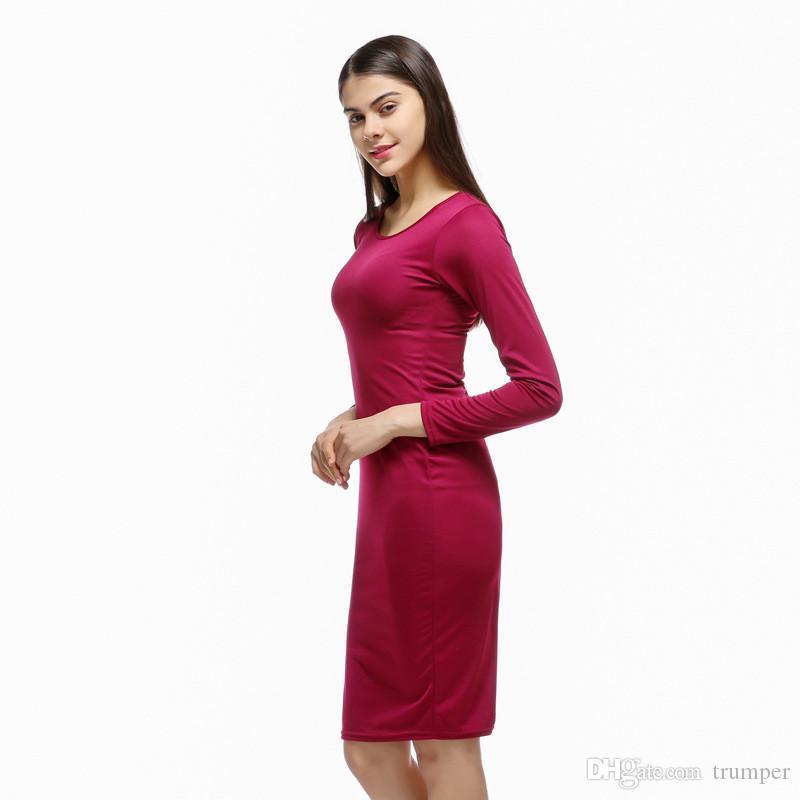 08fc0e8ce068 Satın Al Seksi Kadınlar Elbise 2017 Seksi Yuvarlak Boyun Paket Kalça İnce  Katı Renk Moda Seksi Casual Elbise Bodycon Elbiseler NN 039