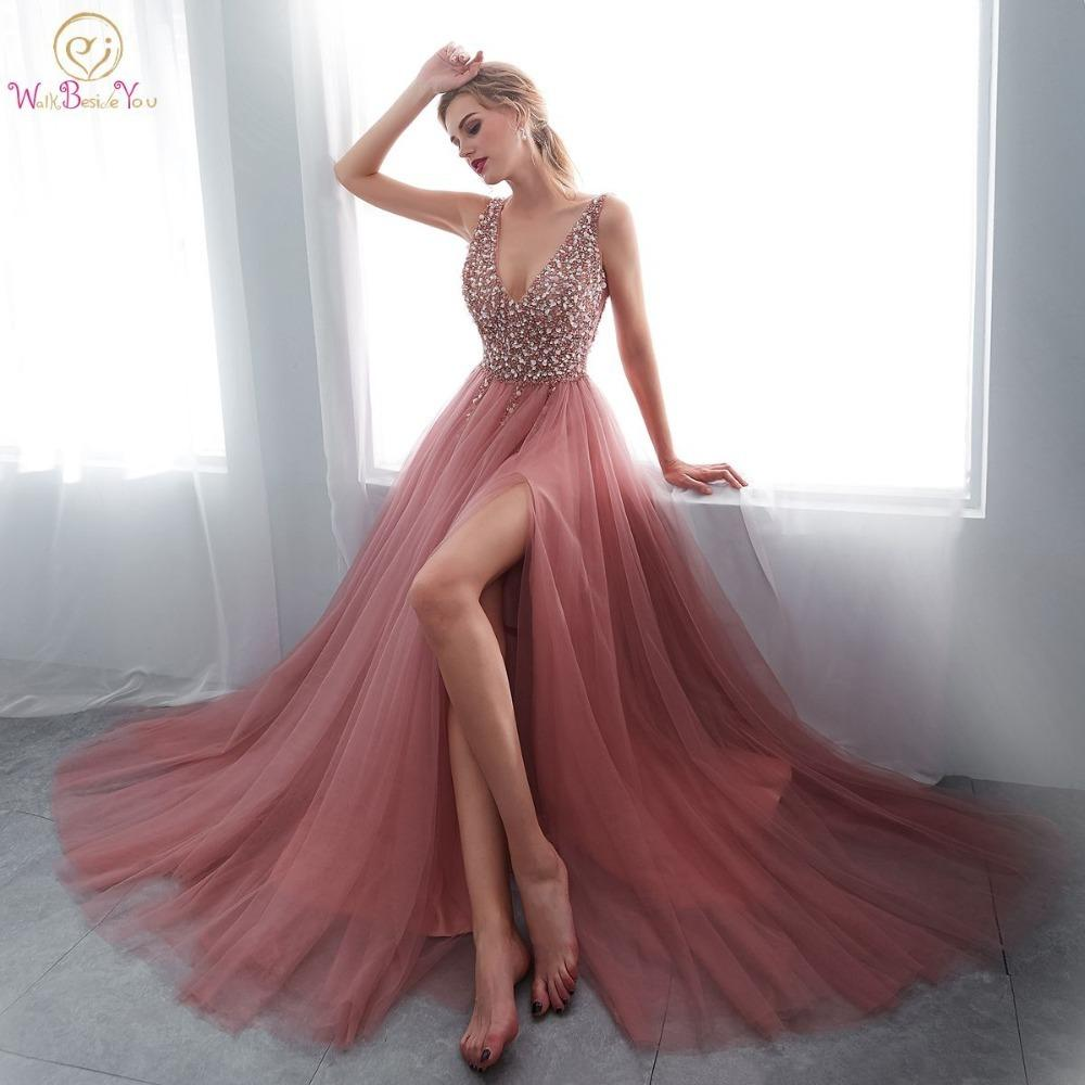 Free Shipping New 2018 V-neck Fashion Formal Long Design Plus Size Silk Zuhair Murad Beading Party Evening Dress Vestido Gown More Discounts Surprises Weddings & Events