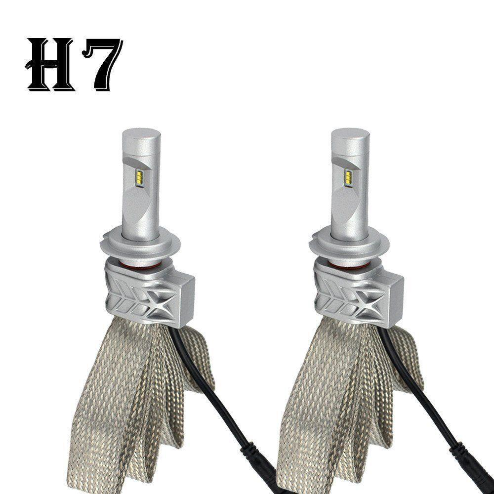 5S LED Headlight Kit H7 55W 12000LM Fanless LUMILED LUXEON ZES LED Chips  Single Beam 6000K Super White H7 Driving Headlamp Bulbs