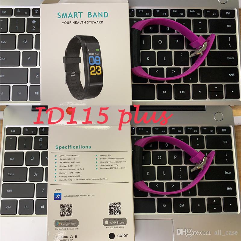 Original Color LCD Screen ID115 Plus Smart Bracelet Fitness Tracker  Pedometer Watch Band Heart Rate Blood Pressure Monitor Smart Wristband