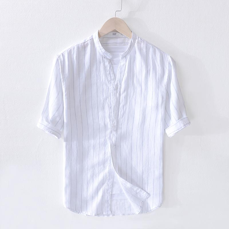 bfcc28d8cd2 2019 Men's new summer pure linen striped half sleeve shirt stand collar loose  shirt mens flax Italy style shirs men brand camisa