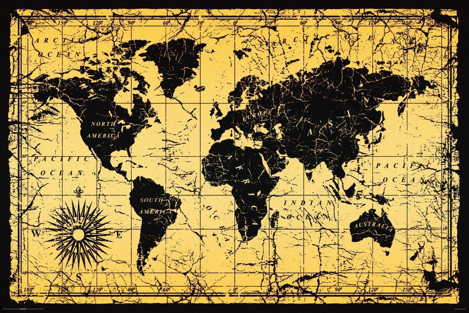 Vintage World Map Art.Vintage Style World Map Art Silk Poster 24x36inch 24x43inch 058