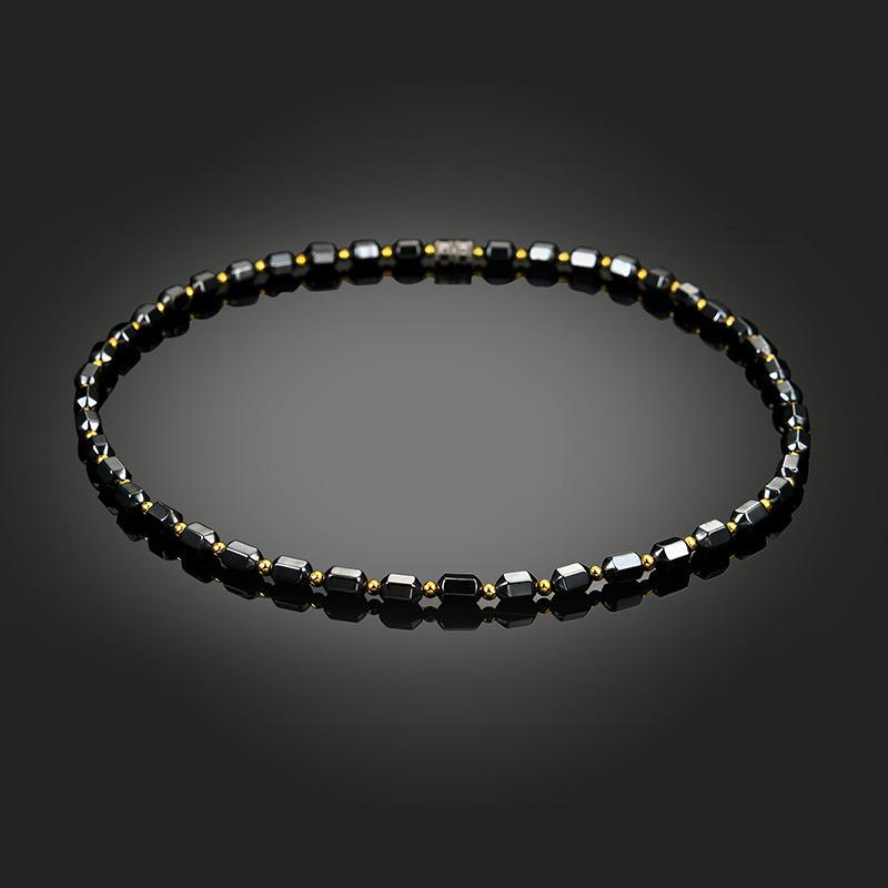 Men Women Black Hematite Necklace Magnet Gold Beads Magnetic Therapy Care Necklaces Jewelry Gift