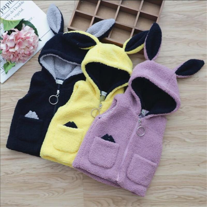 0-4 year baby girl clothing autumn winter fashion Solid cartoon kid children girl clothing jacket outerwear coat baby girl vest