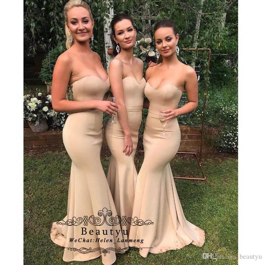 Cheap Sexy Mermaid Bridesmaid Dresses Sweetheart Sleeveless Long ... c72c81de56b8