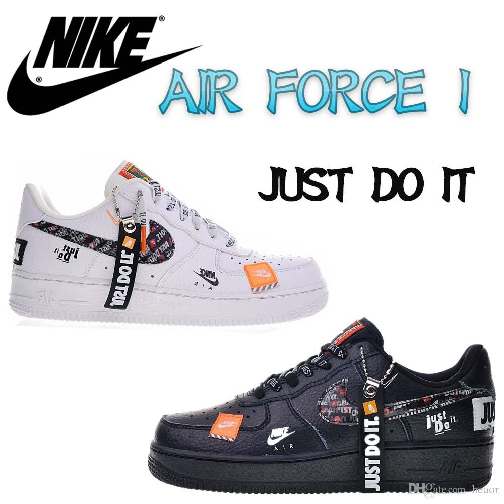 Designer Nike AIR FORCe 1 AIR FORCing 1 LOW 07 PRM RETRO JUST DO IT JDI  Orange Black White SNEAKERS SPORTS RUNNING SHOES