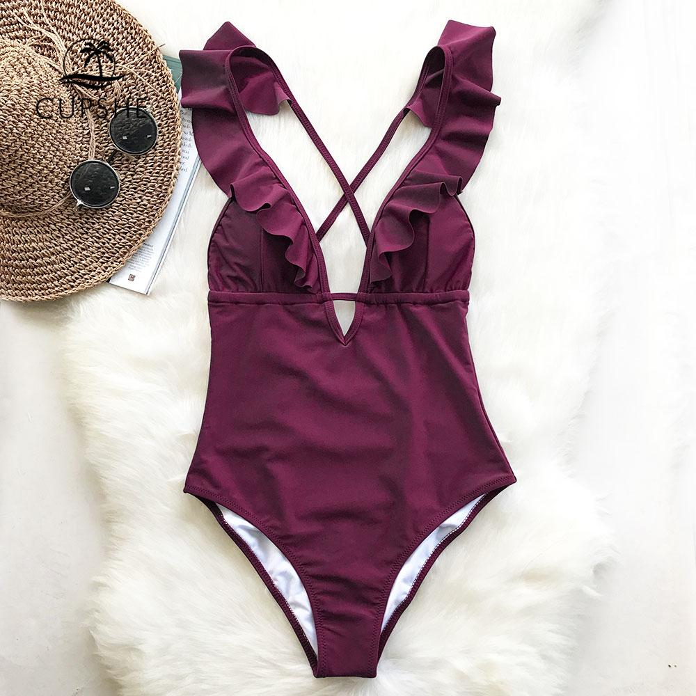 bccfad0a5de Cupshe Burgundy Heart Attack Falbala One-piece Swimsuit Women Ruffle V-neck  Monokini 2019 New Girls Beach Bathing Suit Swimwear Y19051801
