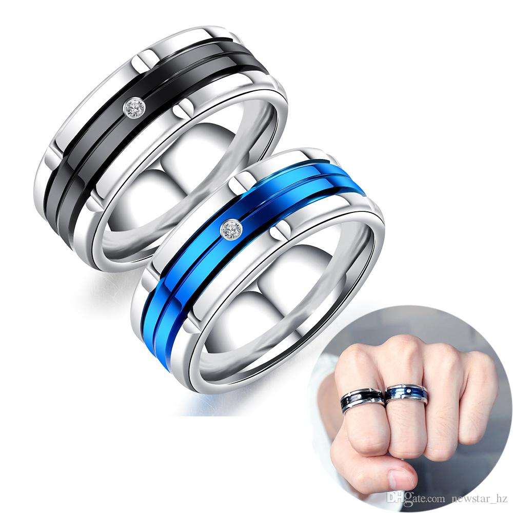 Black / Blue Ring Stainless Steel Cubic Zirconia Jewelry Men Charm Rings Anniversary Engagement Statement Band Gift for Husband