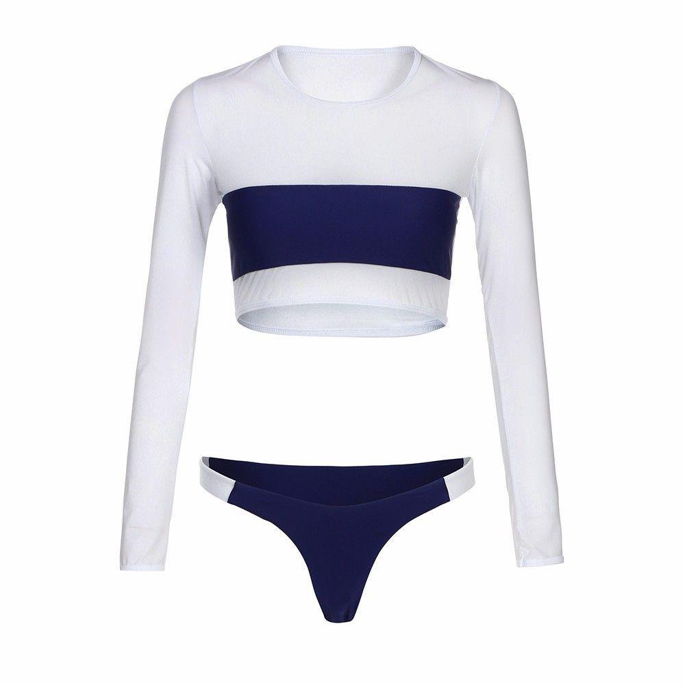 Long sleeves Swimsuit Women Push-up Padded Bra Navy Patchwork Bikini Set Bathing Women's Low Waist Swimming Suit 2018