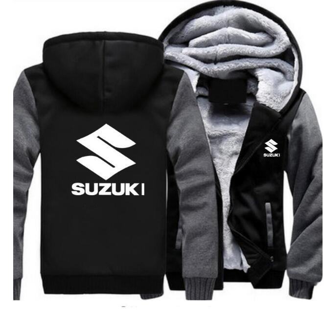 Men's fashion Suzuki car hoodie motorcycle loose hooded zipper jacket Suzuki sports long sleeve thick coat
