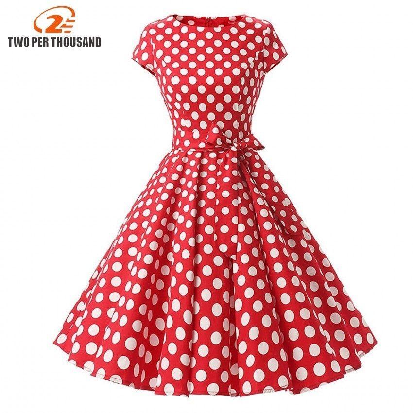 06fcf80463af9 2019 2018 Women Robe Swing Dress Retro Pin Up Vintage 1950s ...