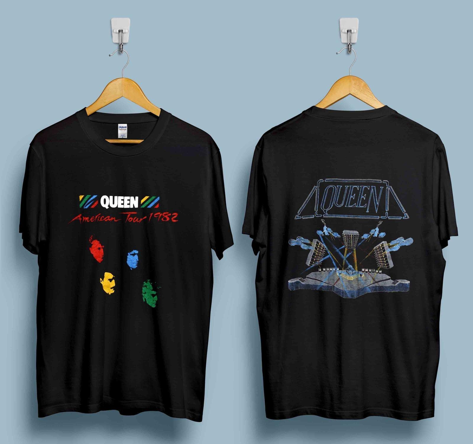 b3ab8e97eb Vintage Queen Tshirt 1982 Hot Space Tour Glam Rock Band Freddie Mercury  Reprint Hot 2019 Summer Men's T Shirt Fashion