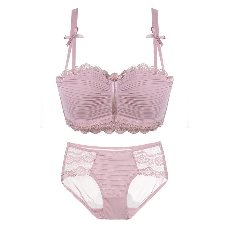 4182c697c1 2019 2018 Floral Wireless Sexy Bras Lace Lightly Lined Triangle Bra Set  Underwear Women Lingerie Deep Plunge V Neck New Arrival From  Hongxuanstore01