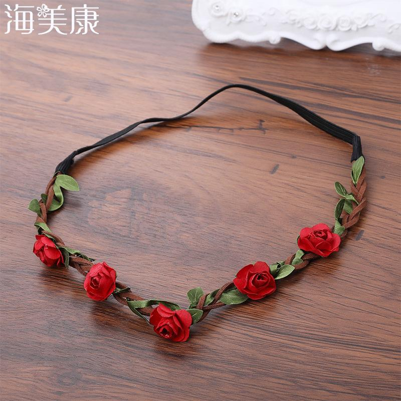 Haimeikang Wedding Flower Wreath Headbands Girls Floral Garland ... e6ab5b3f4eb
