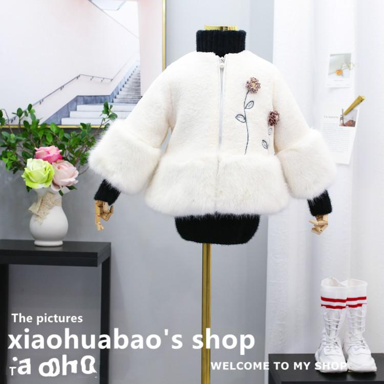 a9882f57bd9 New Year s clothing 2018 winter new girls Teddy velvet three-dimensional  flower fox fur stitching thick coat beauty