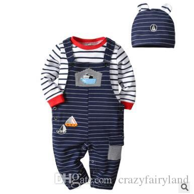 1159825bb4330 2019 Newborn Romper Set Baby Onesie Toddler Romper Jumpsuit With Hat 2019 Summer  Short Sleeve Cotton Baby Boys Striped Embroidered Romper From ...