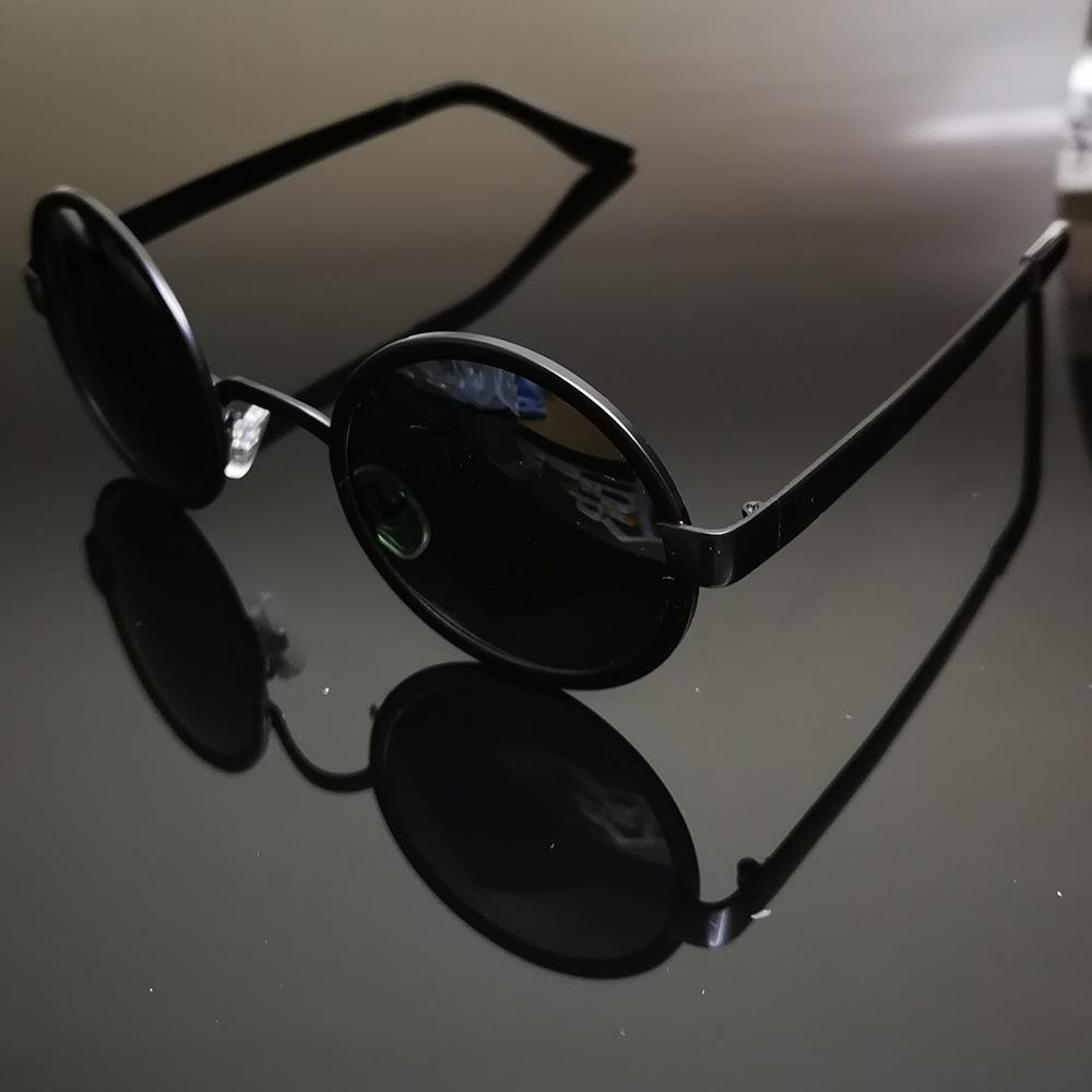 f9c0da993c Retro Round Men Women Black Polarized Sunglasses Polarized Sun Glasses  Custom Made Myopia Minus Prescription Lens 1 To 6 Prescription Glasses  Sunglass From ...