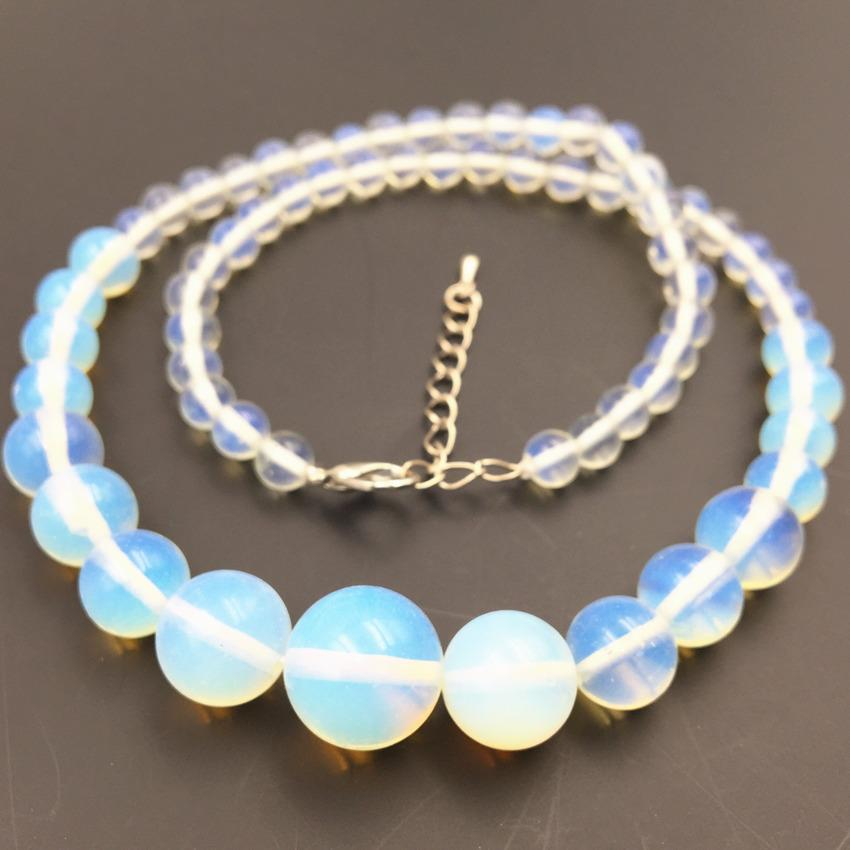"Fashion Ethnic Style Chain Necklace Statement Women Round Opal Stone 6-14mm Beads Crystal Opalite Tower Choker Jewelry 18"" A446"