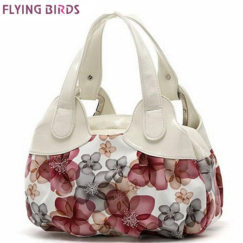 Designer FLYING BIRDS! women leather handbags Popular flower pattern Women handbags shoulder bag ladies women's bags bolsas tote SH462
