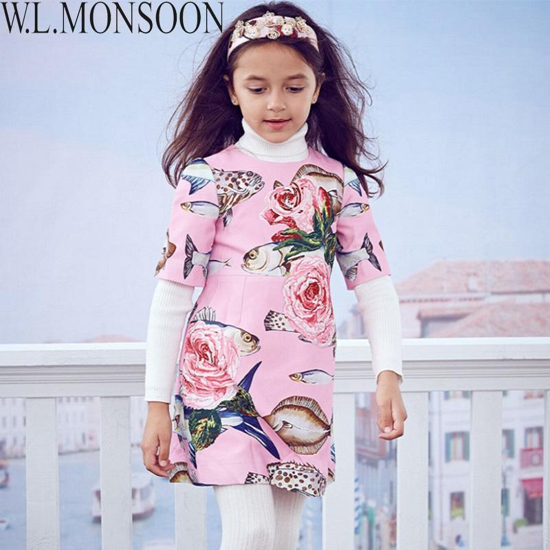 af6f1768c Compre W.LONSOON Criança Meninas Vestidos Com Beading 2019 Marca De Inverno  Vestido De Princesa Crianças Vestido De Peixe Imprimir Crianças Vestido De  Natal ...