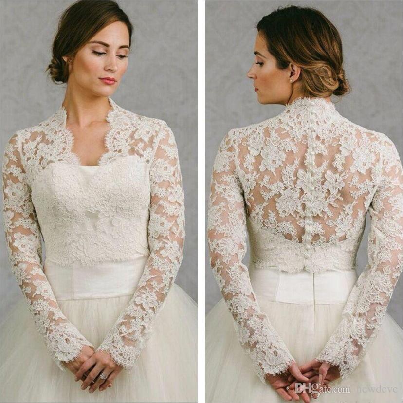 BHLDN 2019 Wedding Wrap Lace Jacket White Ivory Appliqued Cheap Long Sleeve Bridal Jacket Bolero Shrug Plus Size Wedding Dress Wraps