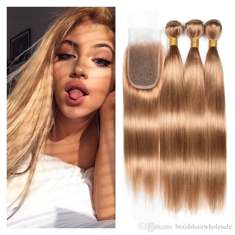 Compre Honey Blonde 27 Paquetes De Cabello Humano Con Cierre De Encaje 3  Paquetes Con Cierre 4x4 Strawberry Blonde Hair Paquete De 3 Paquetes Con  Cierre De ... a449539195cb