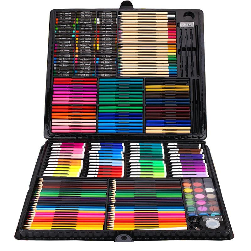 258 Pcs Drawing Set Children Painting Art Set Kit Crayon Colored Pencil Watercolor School Art Supplies Paint Brush For Drawing T8190617