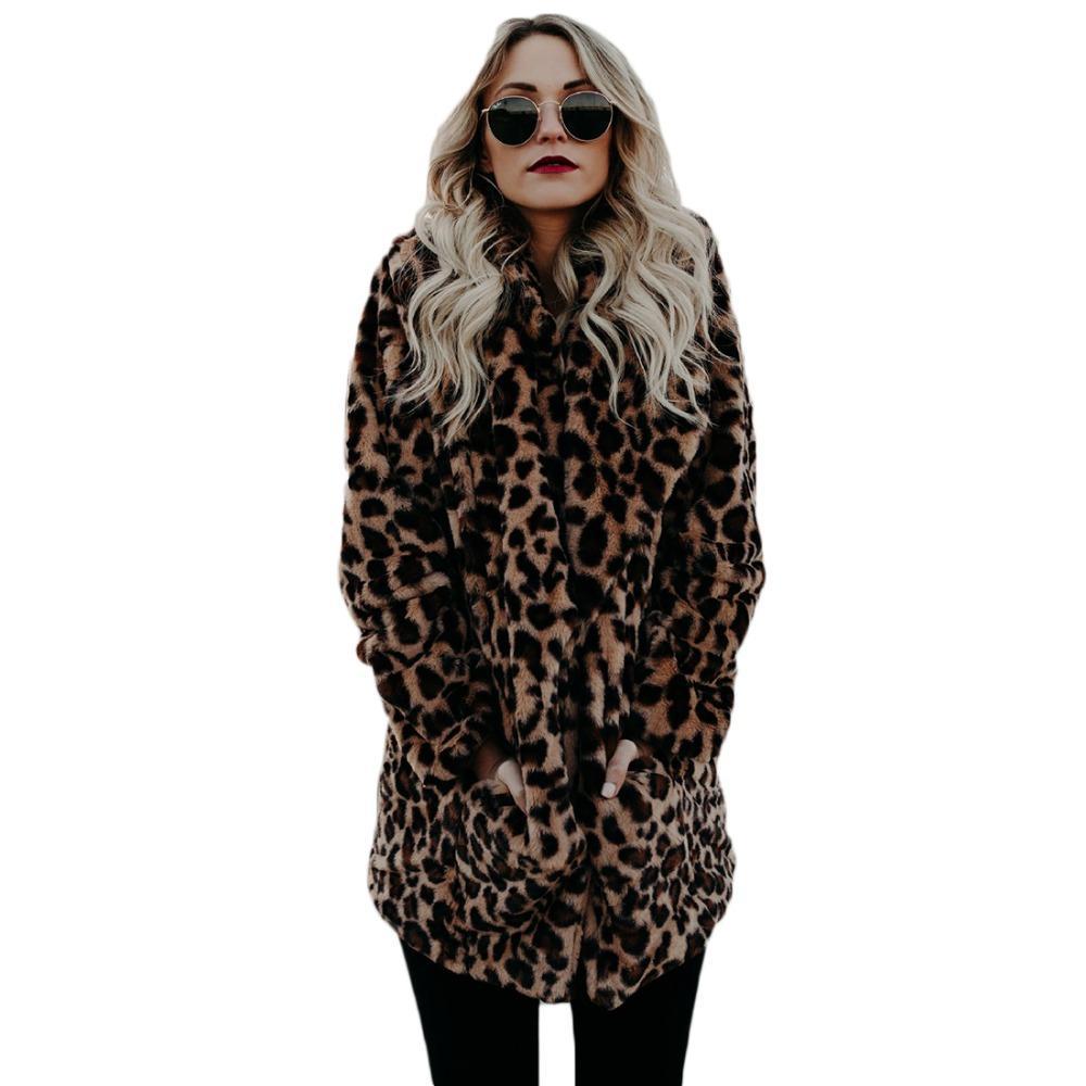 Compre YJSFG CASA De Alta Calidad De Lujo Abrigo De Piel Sintética Para Mujeres  Abrigo De Invierno Cálido Moda Leopard Piel Artificial Abrigos Chaqueta De  ... a6e4de27d21b