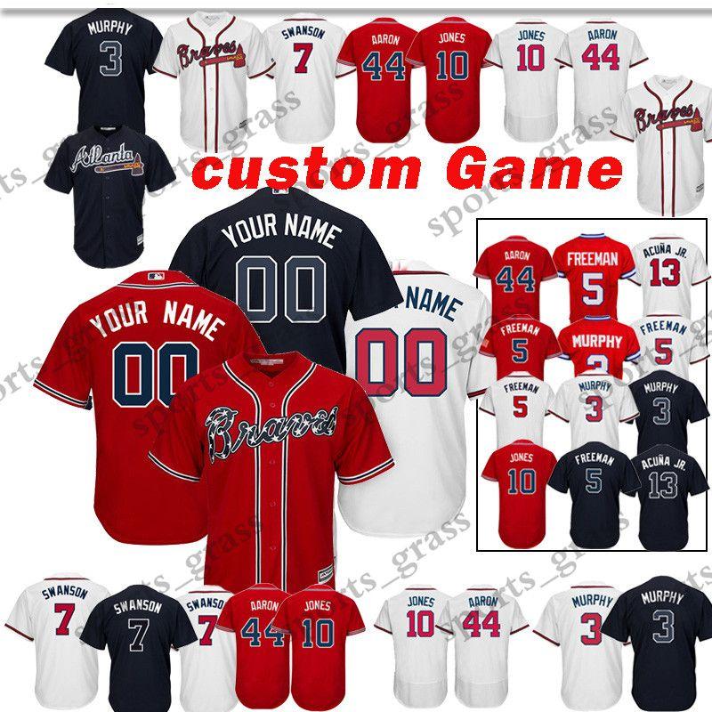 8cd45960e27 Custom Game Atlanta Braves Baseball Jersey 5 Freddie Freeman 44 Hank ...