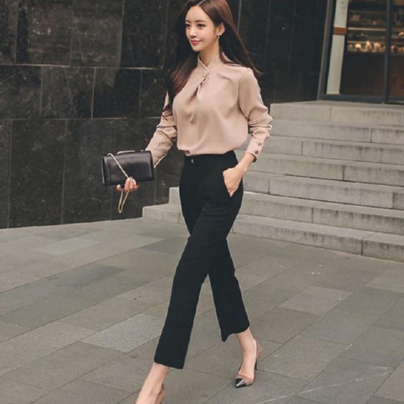 f0406c05aa90 2018 Verano Mujer Traje de negocios Trajes de oficina Mujeres del trabajo  Delgado cuello del soporte flojo de la gasa de la blusa pantalones rectos  ...