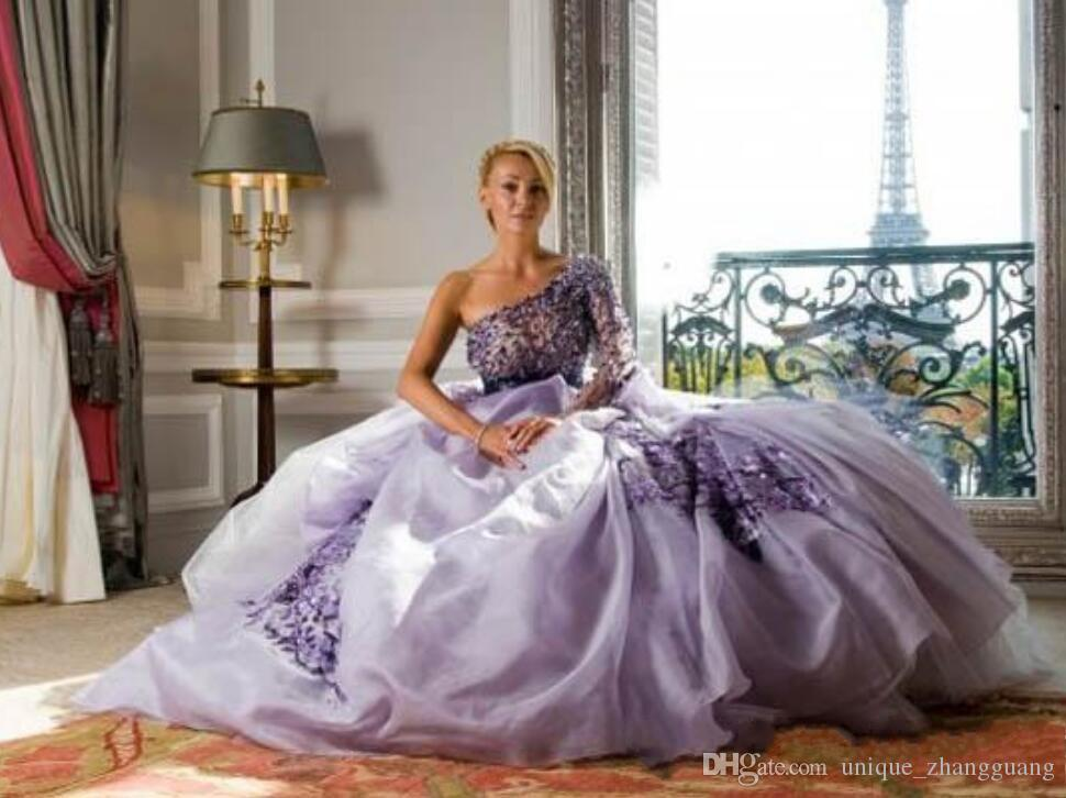 Cheap Zuhair Murad purple tulle applique one shoulder a-line sweep train long bride gowns plus size Evening Dresses