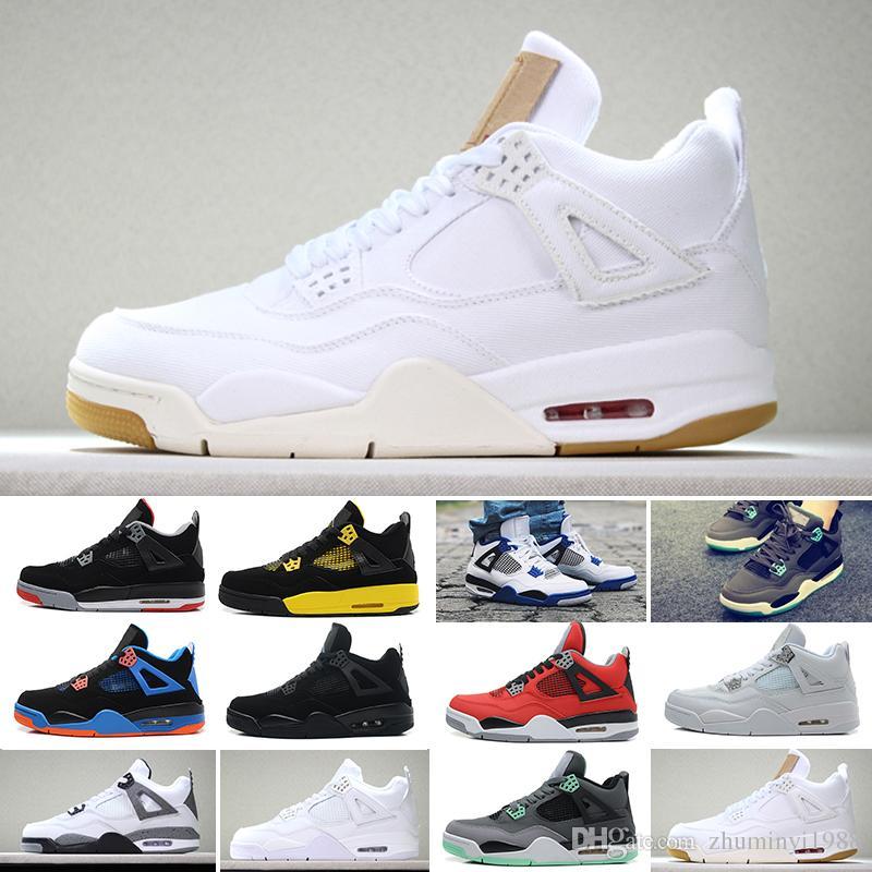 5524b70ccc8 Compre Nike Air Jordan 4 Retro Venta Al Por Mayor 2019 Nuevos 4 4s Hombres  Zapatos De Baloncesto Toro Bravo Cactus Jack 2012 Lanzamiento Cemento  Blanco ...