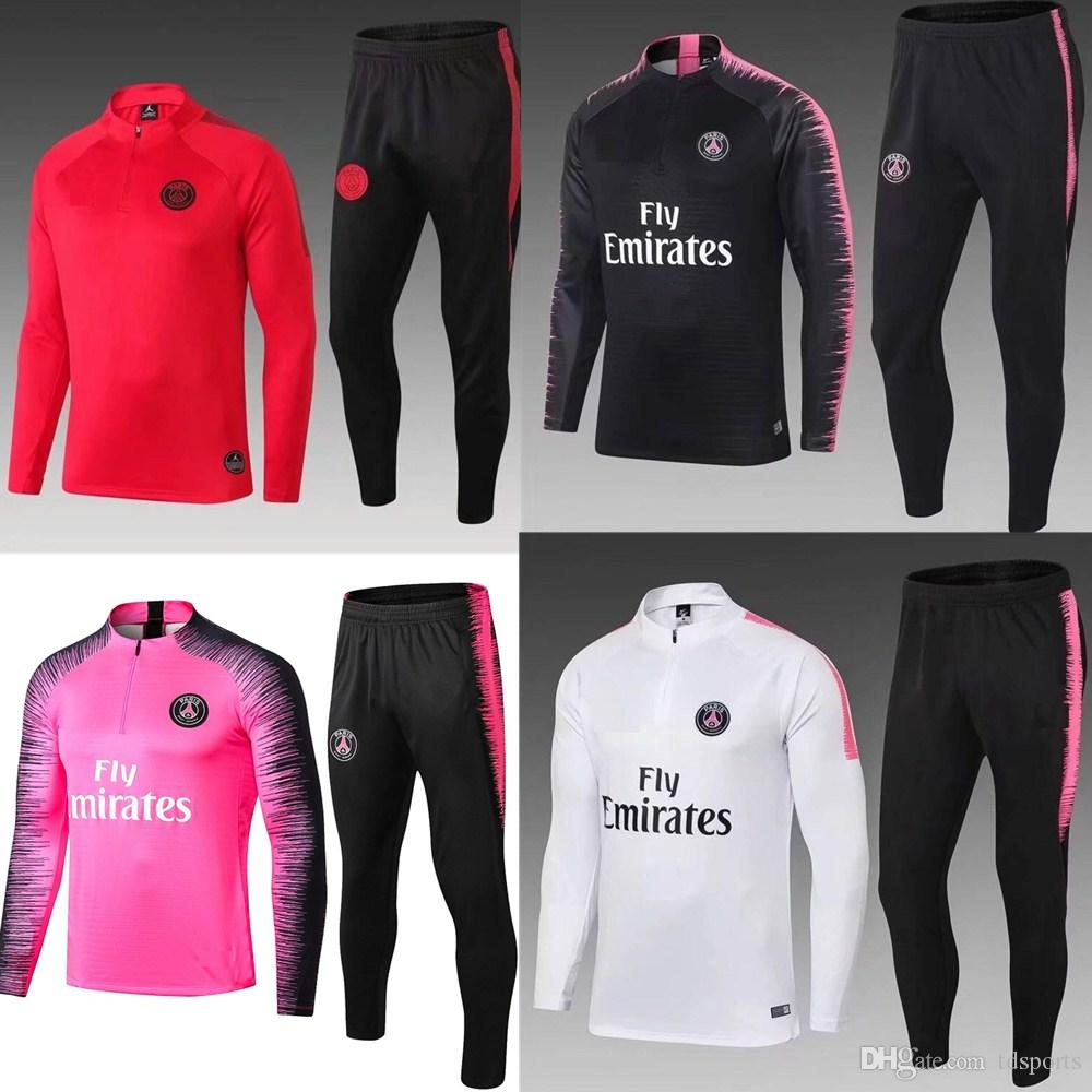 wholesale dealer 50bdc edfe9 top 2018 2019 PSG tracksuit 18 19 Paris MBAPPE JR LUCAS psg long sleeve  training suit Football jacket kit Training suit uniform chandal