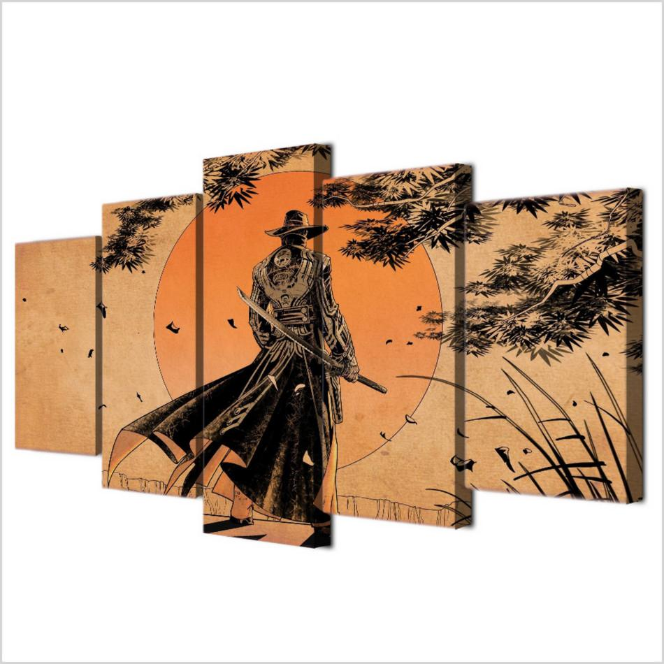 Comic Samurai Anime,5 Pieces HD Canvas Printing New Home Decoration Art Painting /Unframed/Framed