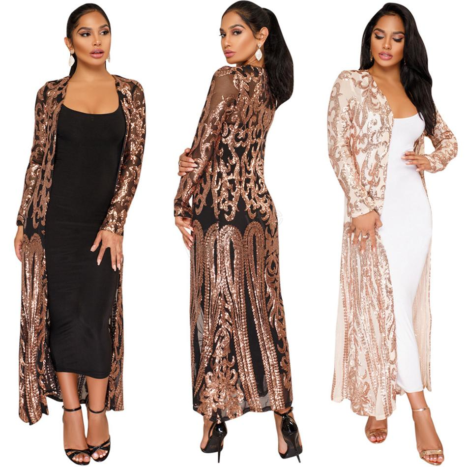 Women Fashion Spangle Cardigan Open Stitch Long Sleeve See-through Sequins Mesh Long Cardigan Bling Cloak cover cape LJJA2828