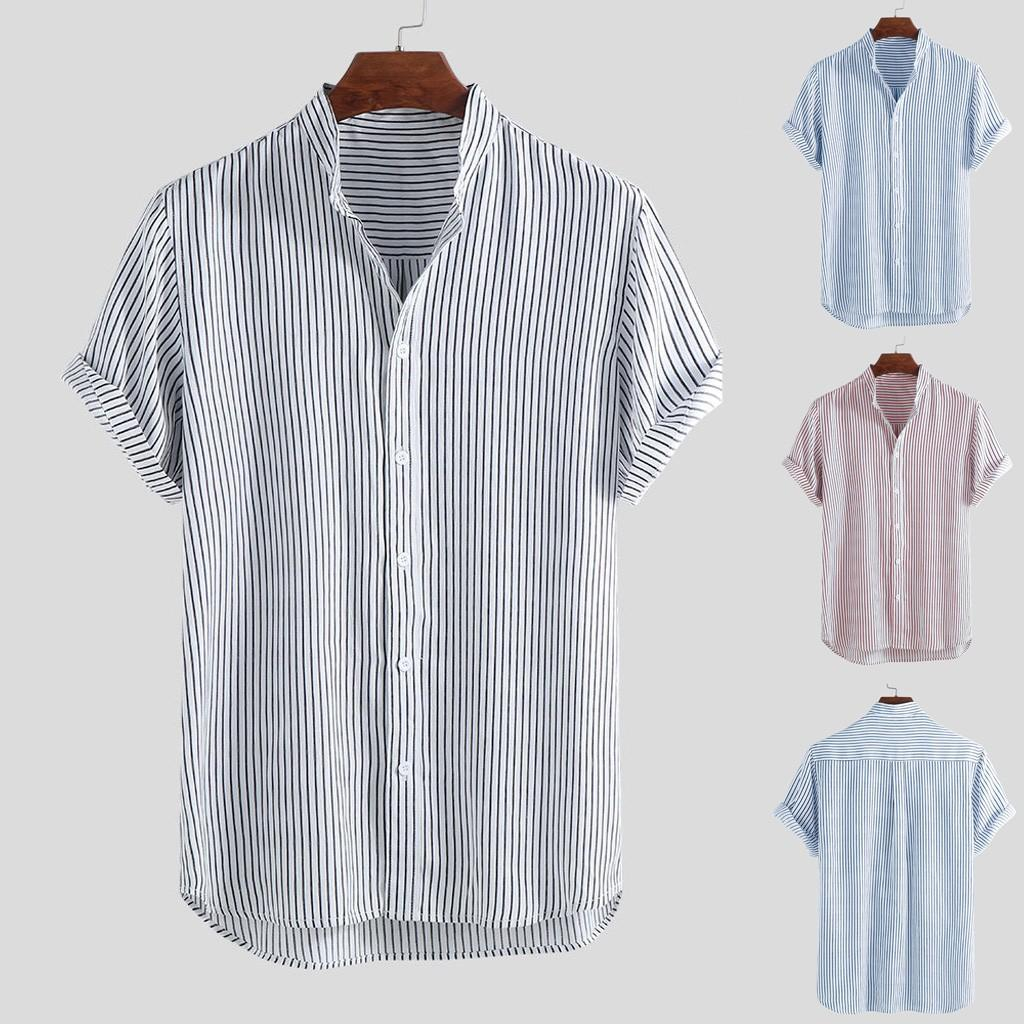2019 New Instyle Garment Men's Stand Collar Stripe Summer Short Sleeve Loose Buttons Casual Shirt Blouse Nuevos tops para hombre