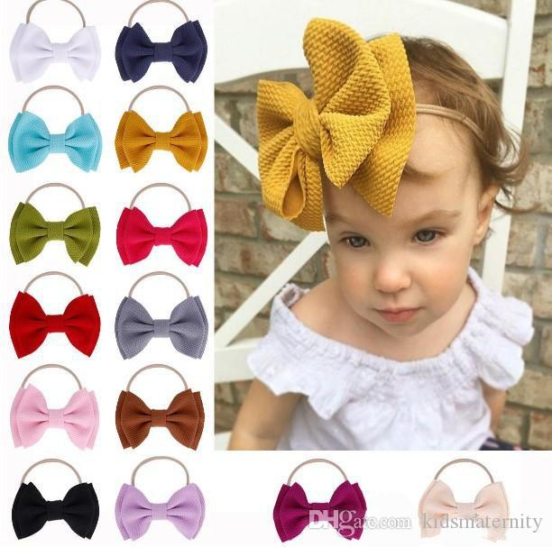 bowknot Hair Sticks baby girl big bow headband pure solid color children nylon hairband kids lovely hair accessories