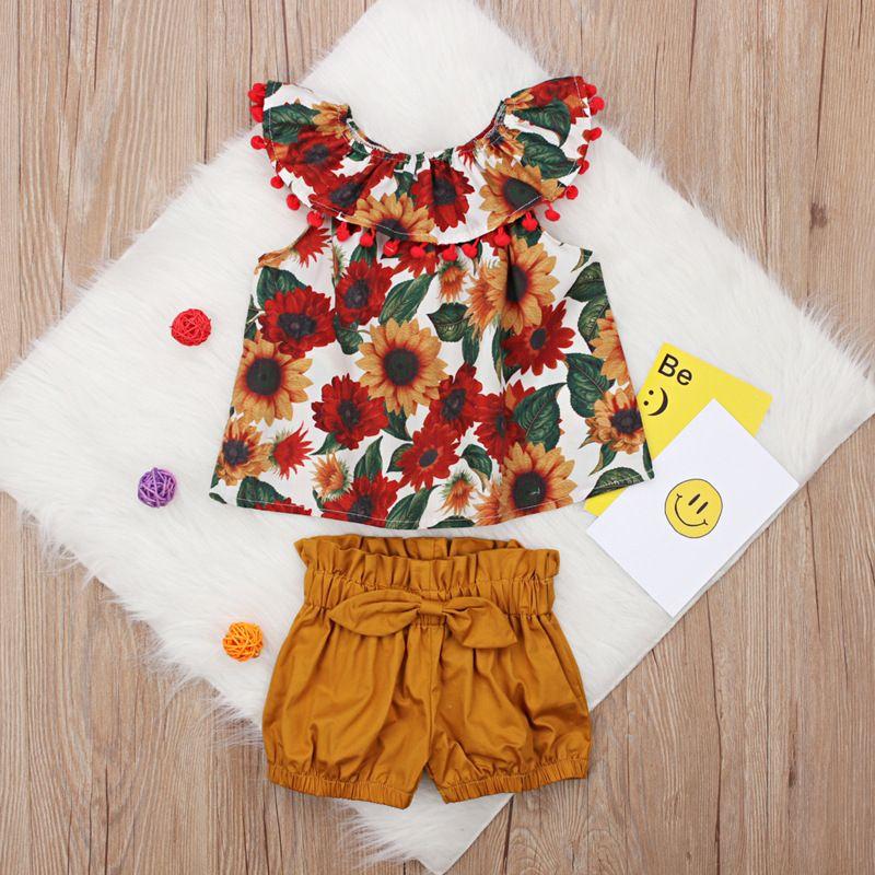 c39a66fdb 2019 Conjunto de ropa de verano para niñas pequeñas Floral Rose Chaleco  Pantalones cortos Ropa para niños Camisa de los niños Pantalones Traje de  ...