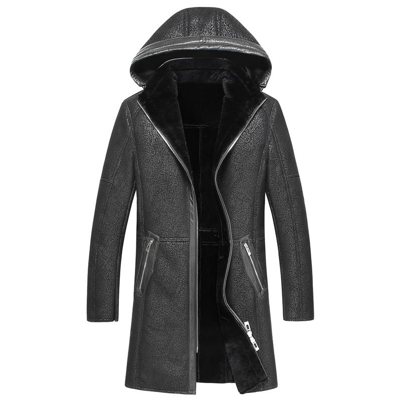 New black Color Real Shearling Coat Natural Sheepskin Suede Men Jacket long Clothes Thick Overcoat