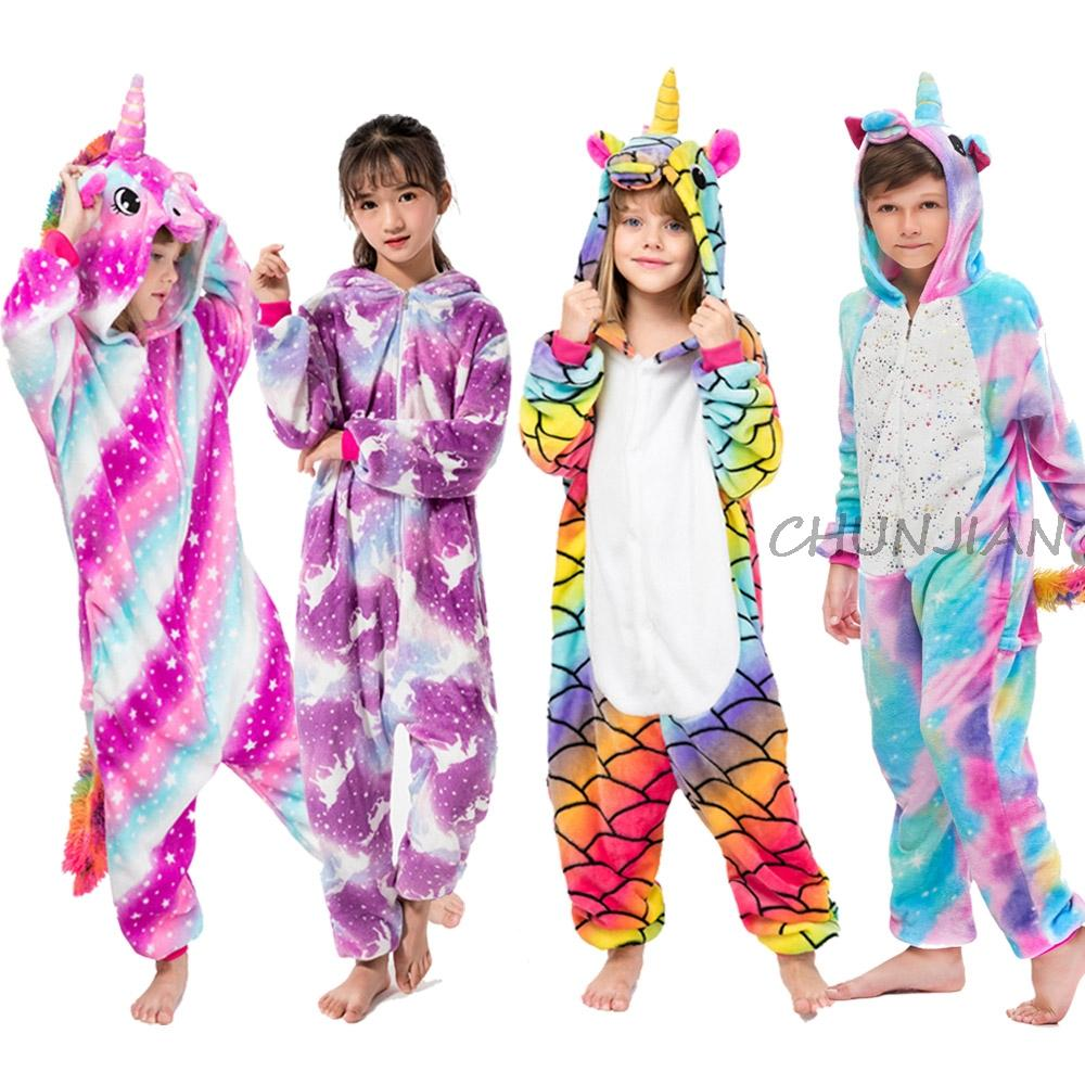 Boys Dinosaur Cartoon Animal Cosplay Warm Pajamas Girls Rainbow Unicorn Flannel Pajama Pijamas Infantil Kids Panda Costume Sleep