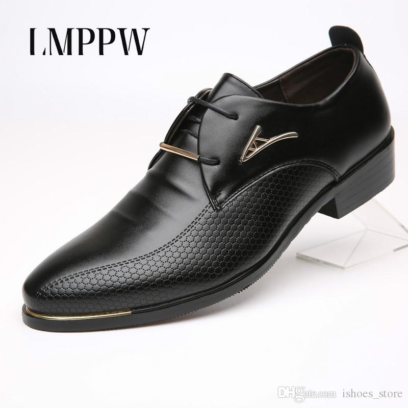 625c63da8f17 LMPPW Brand Business Dress Men Formal Shoes Leather Oxford Shoes Big Size  38 46 Men Flat Black Brown Leather Wedding  98221 White Shoes Wedges Shoes  From ...