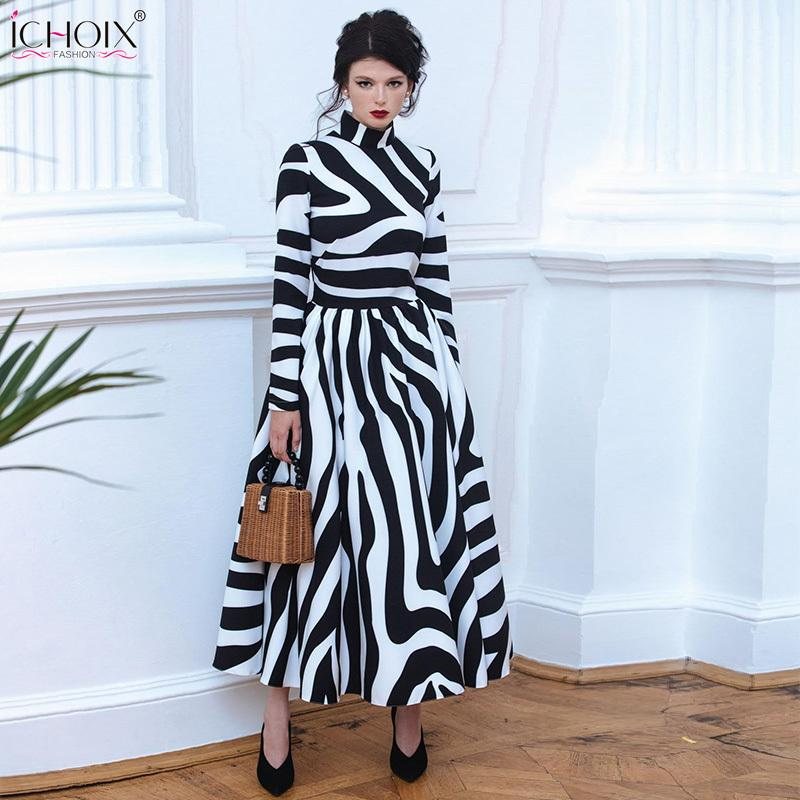b2c9464dcae2 2019 2018 Autumn Elegant Long Dress Women Winter Striped Vintage Maxi  Dresses Zebra Print Female Office Dress Bodycon Party Vestidos Y19012201  From Jinmei01 ...