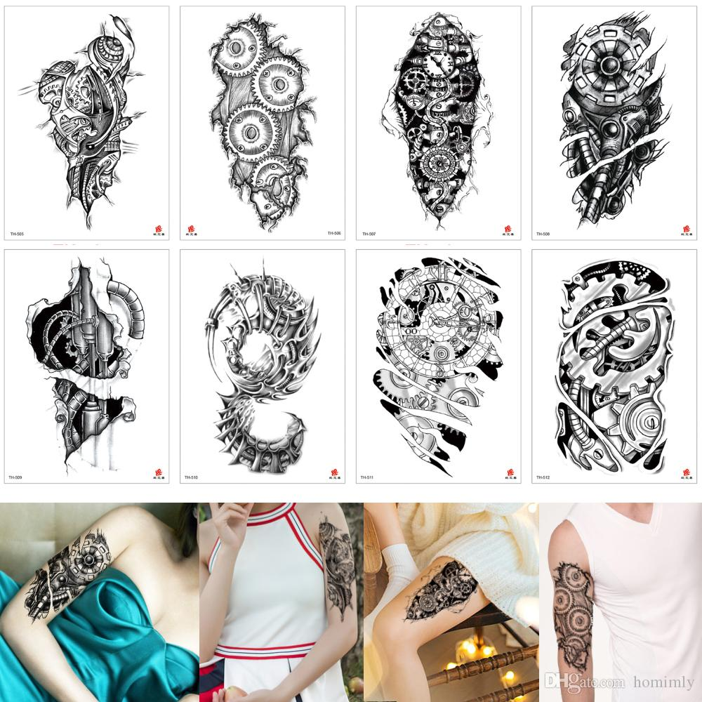 Fake Unique Waterproof Temporary Tattoo Sticker Machine Arm Wheel